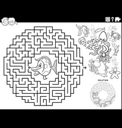 Maze game with cartoon fish and sea animals vector