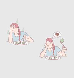 meal dissatisfaction diet healthy food vector image