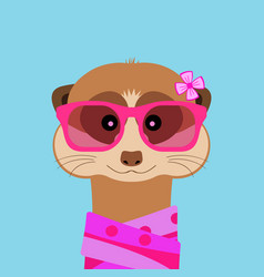 Meerkat girl portrait with pink glasses and scarff vector
