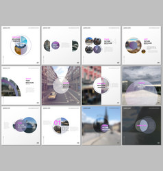 minimal brochure templates with violet color vector image
