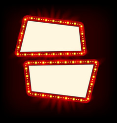 Neon lamps billboard cinema and theater signage vector