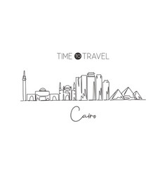 One single line drawing cairo city skyline vector