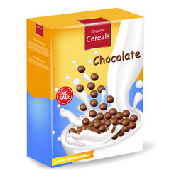 Organic chocolate cereals package realistic vector