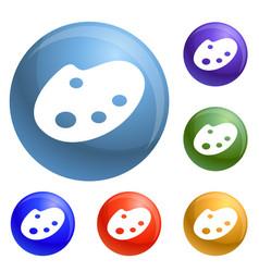 paint pallete icons set vector image