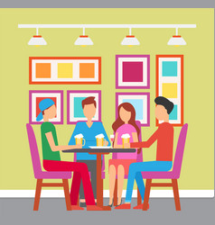 People drinking at pub friends in bar on weekends vector