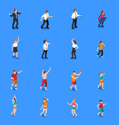 people during celebration isometric icons set vector image