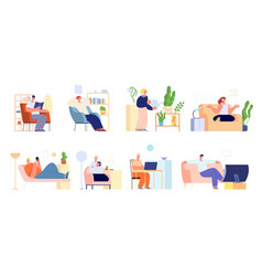 people home relax meditate work at house person vector image