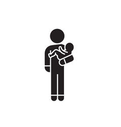 person with baby black concept icon person vector image