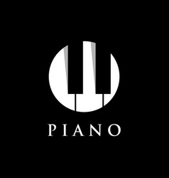 piano orchestra logo template design on a black vector image