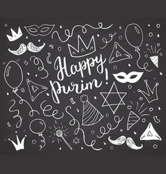 Purim sketch doodles hand drawn set traditional vector