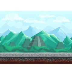 Pyramid in the emerald mountains vector