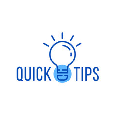 Quick tips with blue thin line bulb vector