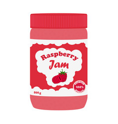 Raspberry jam in glass jar made in flat style vector