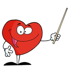 Red Heart Character Holding A Pointer vector image