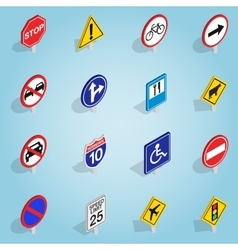 Road sign set icons isometric 3d style vector image