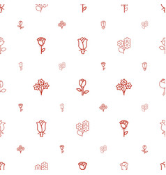 rose icons pattern seamless white background vector image