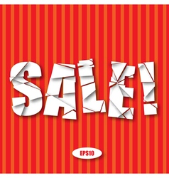 Sale Cut Paper Poster on red stripes background vector