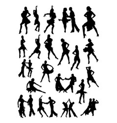 salsa dancer silhouette vector image