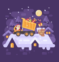 Santa claus in a yellow tipper truck on a rooftop vector