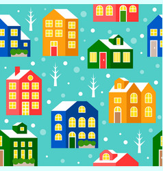 seamless pattern house or cottage in winter vector image