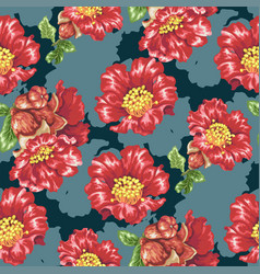 Seamless pattern with pomegranate blooming vector