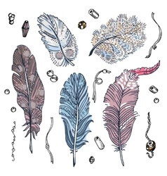 Set of sketched feathers beads and ribbons vector image