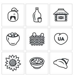 Set of Ukraine Icons Kazak Vodka Village vector