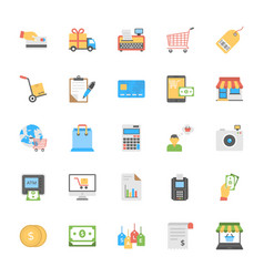 Shopping and commerce icons set vector