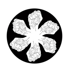 Six fists abstract symbol black and white special vector image
