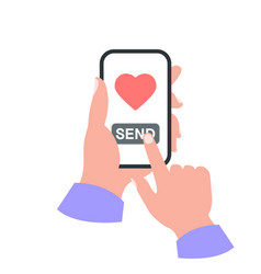 Smartphone in your hand concept send like vector