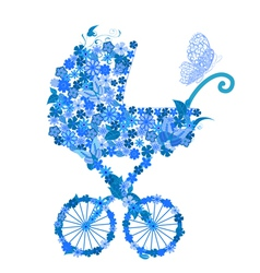 stroller of flowers for a boy vector image