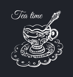 Tea time poster with cup of tea vector