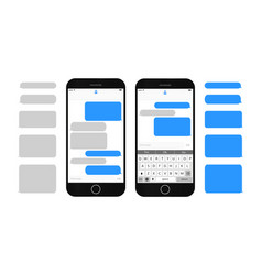 Text message boxes on smartphone screen vector