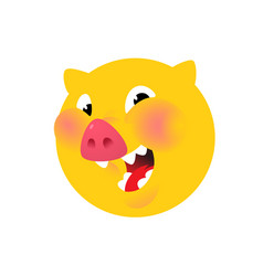 the head a pig yellow logo symbol for the vector image