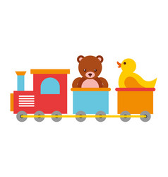 toys kids train bear and rubber duck vector image