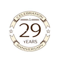 Twenty nine years anniversary celebration logo vector