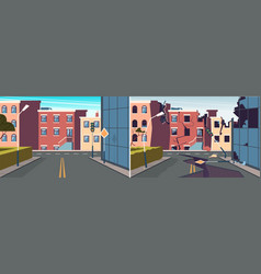 urban landscape damaged city earthquake broken vector image