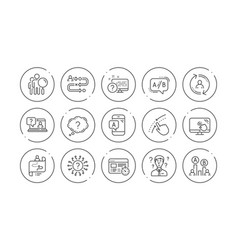 ux line icons ab testing journey path map and vector image