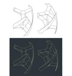 Vertical axis wind turbine drawings vector