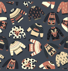 Vintage christmas holiday sweaters pattern vector