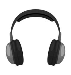 Vintage headphones icon in monochrome style vector image