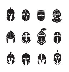 Warrior helmets black icons or logos set Knight vector image vector image