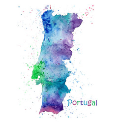watercolor map portugal stylized image vector image