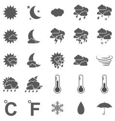 weather icon set black on white background vector image