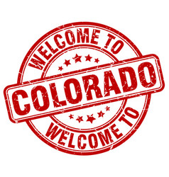 Welcome to colorado red round vintage stamp vector