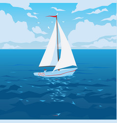 White boat with sail and red flag vector