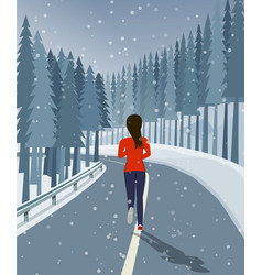 Woman run on road surrounded by forest and snow vector