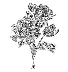 Zentangle Rose flower floral pattern vector image