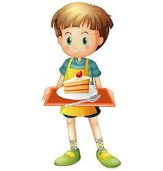 A boy holding a tray with a slice of cake in a vector image