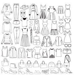 doodles of fashionable women clothes and vector image
